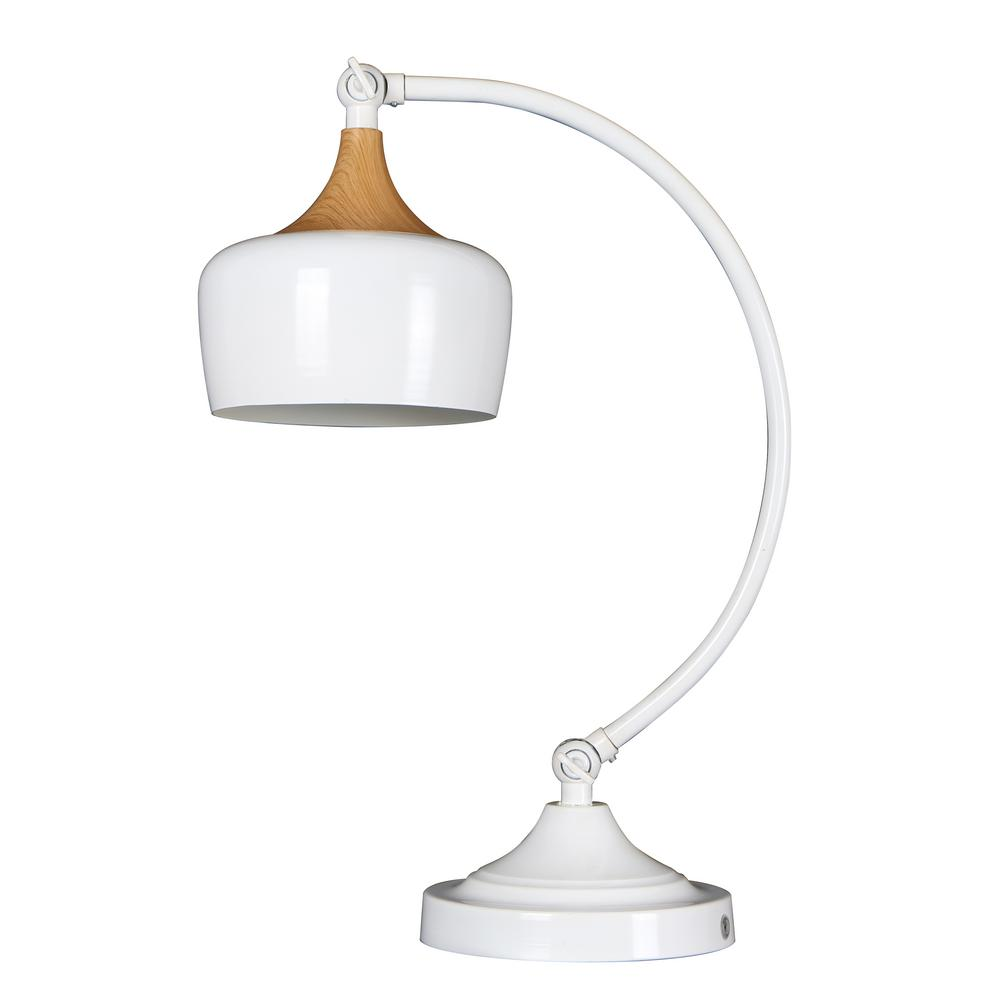 Beldi Urbania 1 Light White And Wood Table Lamp