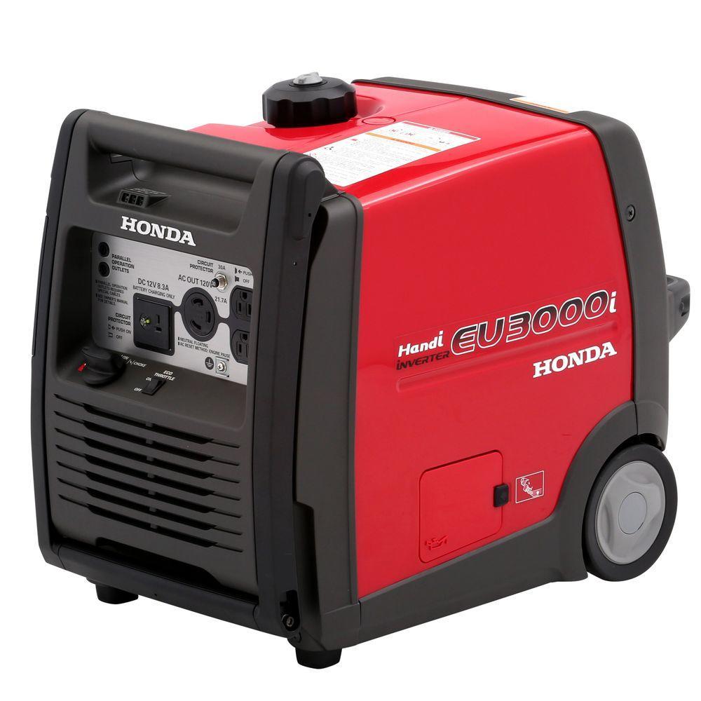 Honda 3000 Watt Super Quiet Gasoline Powered Wheeled Portable Inverter  Generator With Eco Throttle