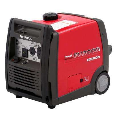 3000-Watt Super Quiet Gasoline Powered Wheeled Portable Inverter Generator with Eco-Throttle and Folding Handle Bar