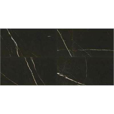 Marble View Black Marble Polished 24 in. x 48 in. Color Body Porcelain Floor and Wall Tile (15.26 sq. ft. / case)