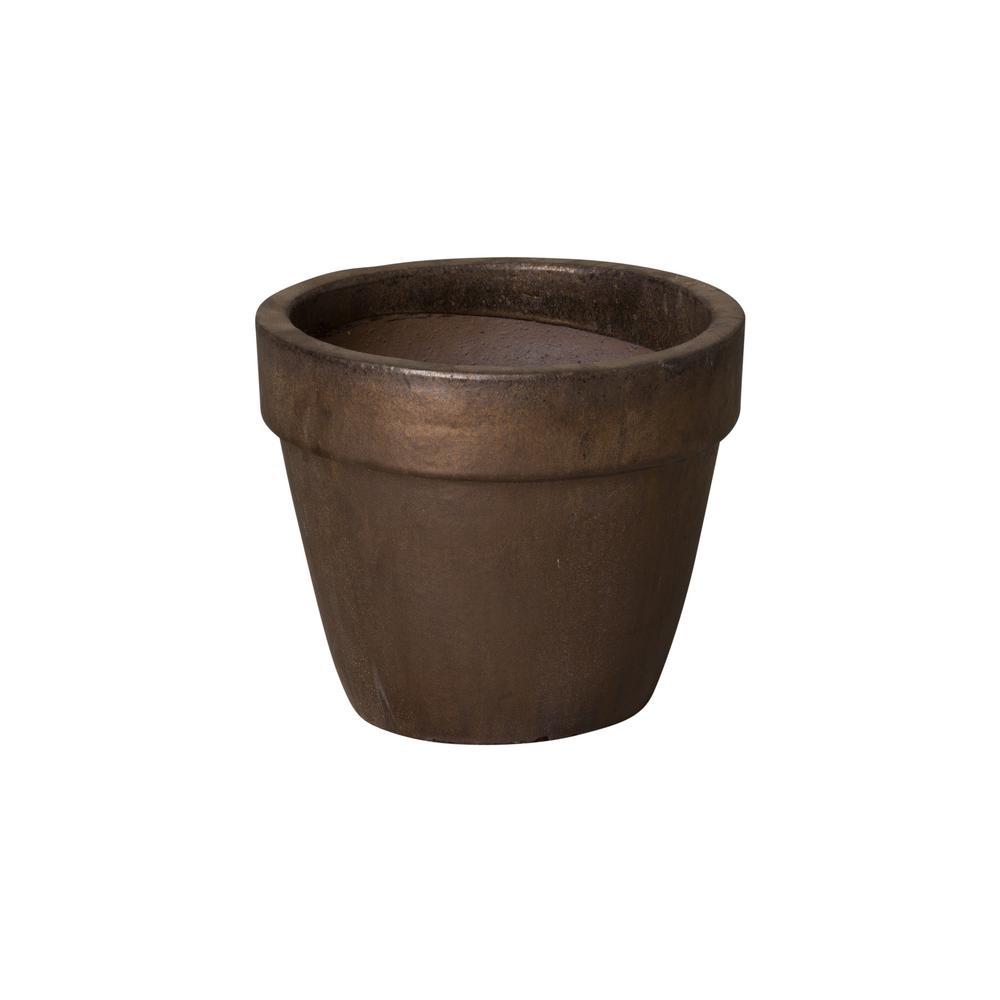 14 in. Dia Metallic Ceramic Round Flower Pot Planter
