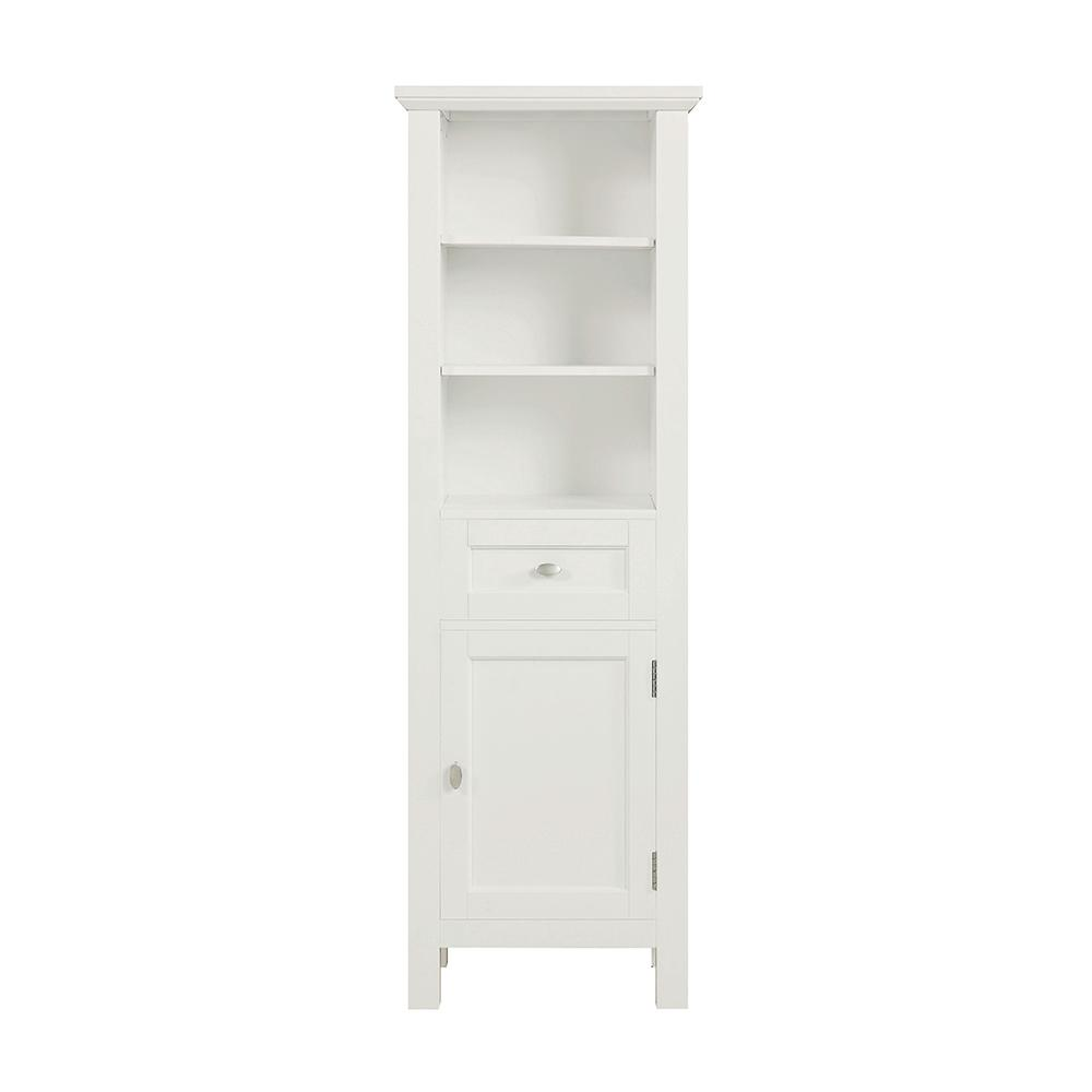 Home Decorators Collection Austell 20 in. W x 14 in. D x 60 in. H Single Door Linen Cabinet in White