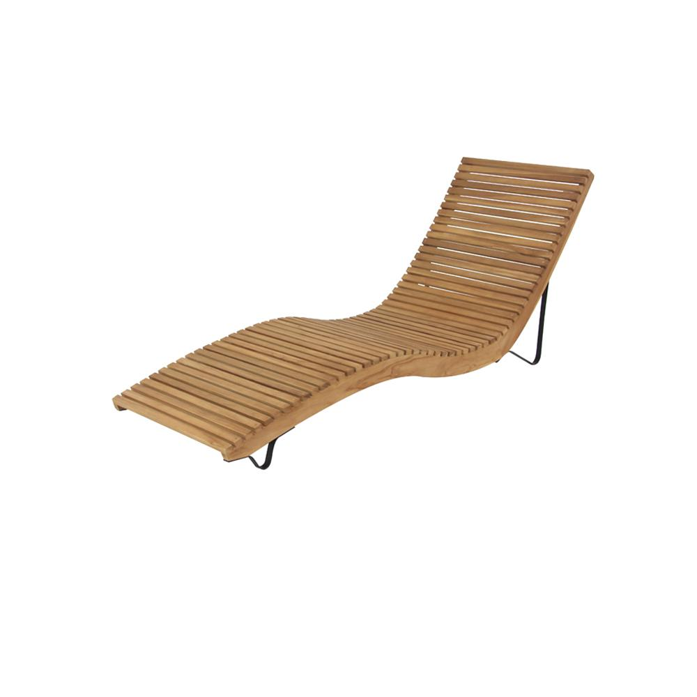 White Teak Wood Slanted and Curved Chaise Lounge Chair77843 The