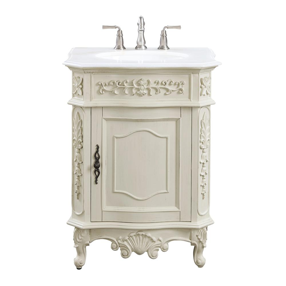 Home Decorators Collection Winslow 26 in. W x 22 in. D Bath Vanity in Antique White with Vanity Top in White Marble with White Basin