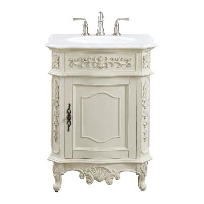 Winslow 26 in. W x 22 in. D Bath Vanity in Antique White with Vanity Top in White Marble with White Basin