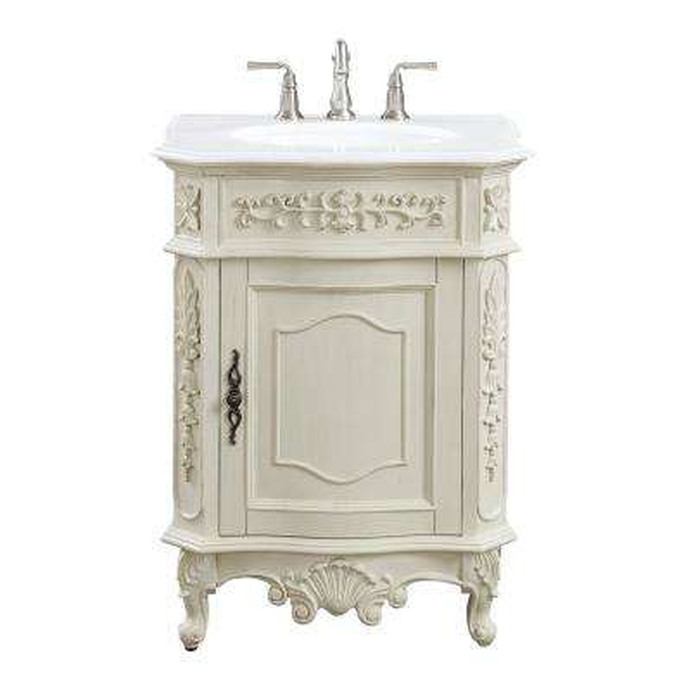 Winslow 26 in. W x 22 in. D Bath Vanity in Antique White with Vanity Top in White Marble with White Basin