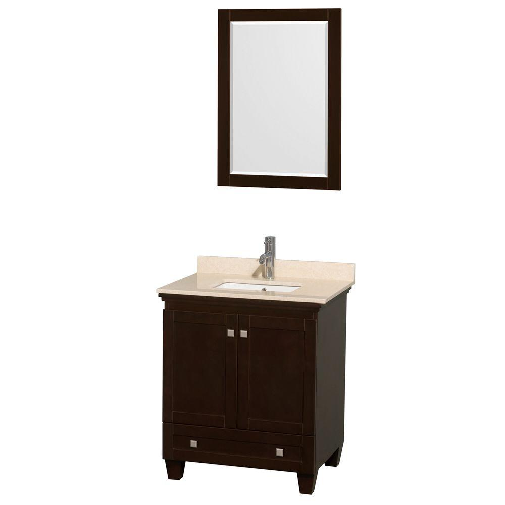 Acclaim 30 in. Vanity in Espresso with Marble Vanity Top in