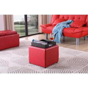 Fantastic Hodedah Faux Leather Single Storage Red Ottoman With 1 Flip Bralicious Painted Fabric Chair Ideas Braliciousco