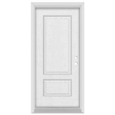 33.375 in. x 83 in. Infinity Left-Hand Inswing 2 Panel Finished Fiberglass Oak Woodgrain Prehung Front Door