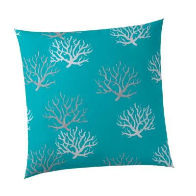 Reef Square Outdoor Throw Pillow Turquoise