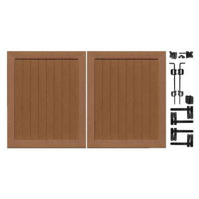 Pro Series 5 ft. W x 6 ft. H Brown Vinyl Anaheim Privacy Double Drive Through Fence Gate