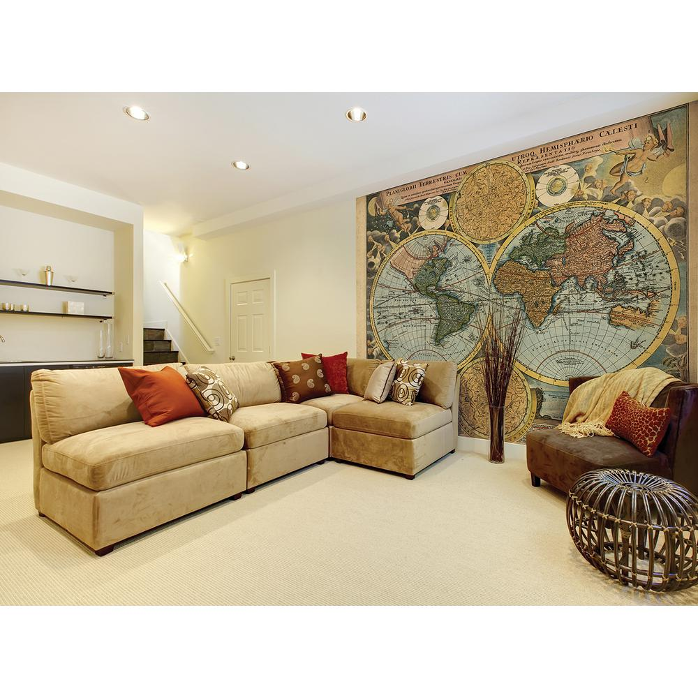Brewster 118 in x 98 in traveler 39 s globe wall mural for Brewster wall mural