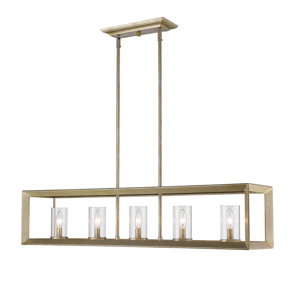 Golden Lighting Smyth Wg 5 Light White Gold Pendant With Clear Glass 2073 Lp Wg Clr The Home Depot