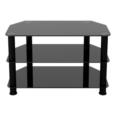 SDC800BB–A TV Stand for TVs UP TO 42–inch, Black Glass, Black Legs, 80cm
