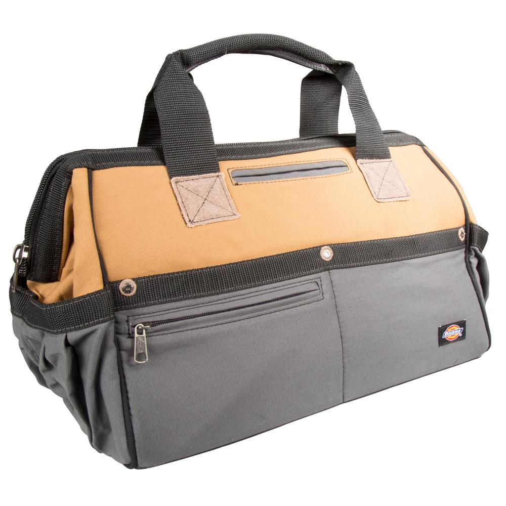 16 in. Soft Sided Construction Work Tool Bag, Grey/Tan