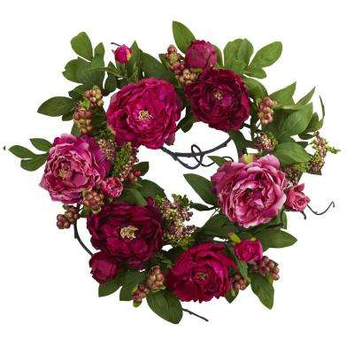 Peony and Berry 20 in. Wreath