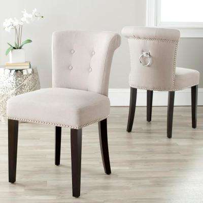 Sinclair Taupe/Espresso Linen Side Chair (Set of 2)