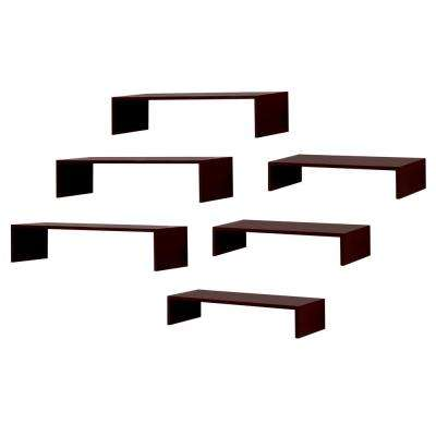 Extense 14 in. W x 4 in. and 10 in. W x 4 in. D Espresso Decorative Wall Shelf (Pack of 6)