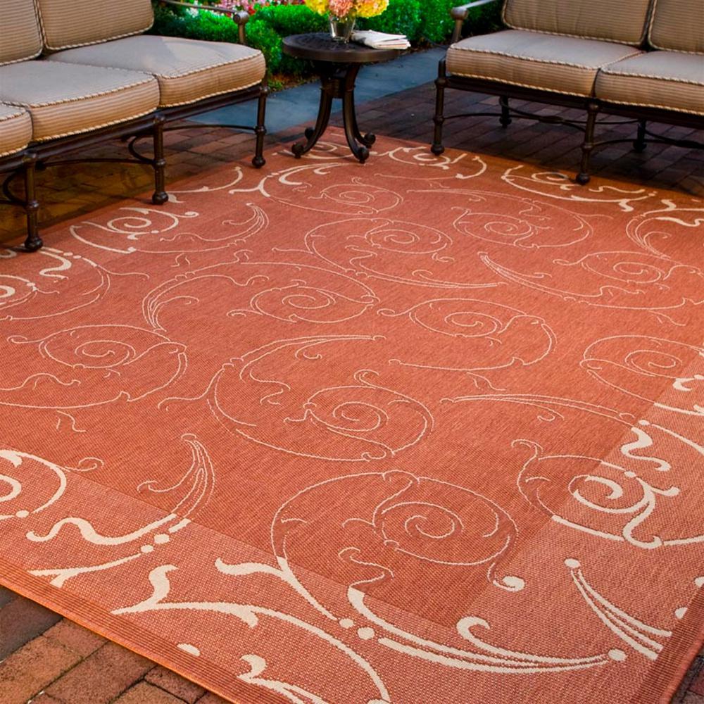 Outdoor Rug Rental: Safavieh Courtyard Natural/Terracotta 9 Ft. X 12 Ft