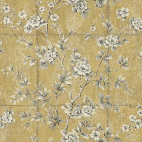 Seabrook Designs Great Wall Metallic Gold and Taupe Floral Wallpaper
