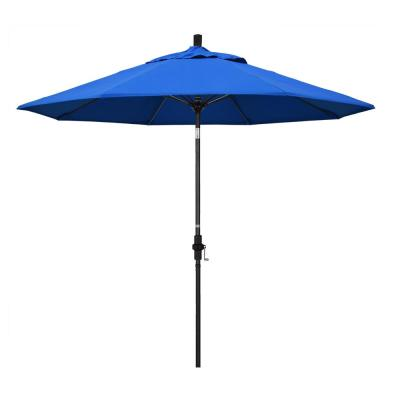 9 ft. Fiberglass Market Collar Tilt M Black Patio Umbrella in Royal Blue Olefin