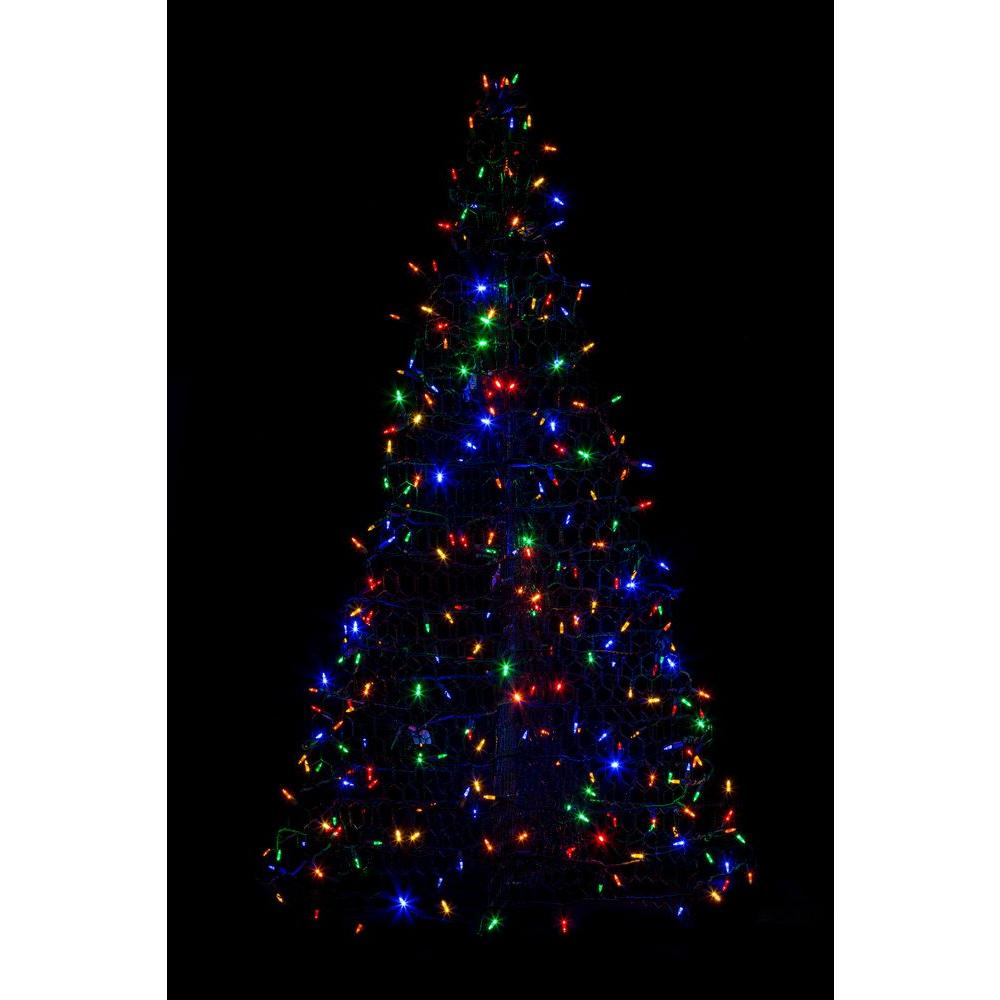 indooroutdoor pre lit led artificial christmas tree with green frame - Home Depot Outdoor Christmas Decorations