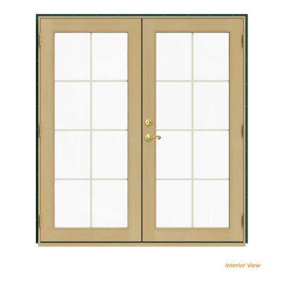 72 in. x 80 in. W-2500 Green Clad Wood Left-Hand 8 Lite French Patio Door w/Unfinished Interior