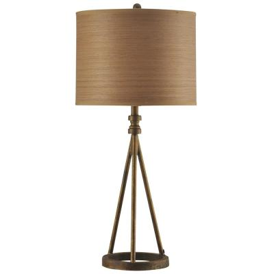 35 in. Antique Brass Table Lamp with Brown Hardback Fabric Shade