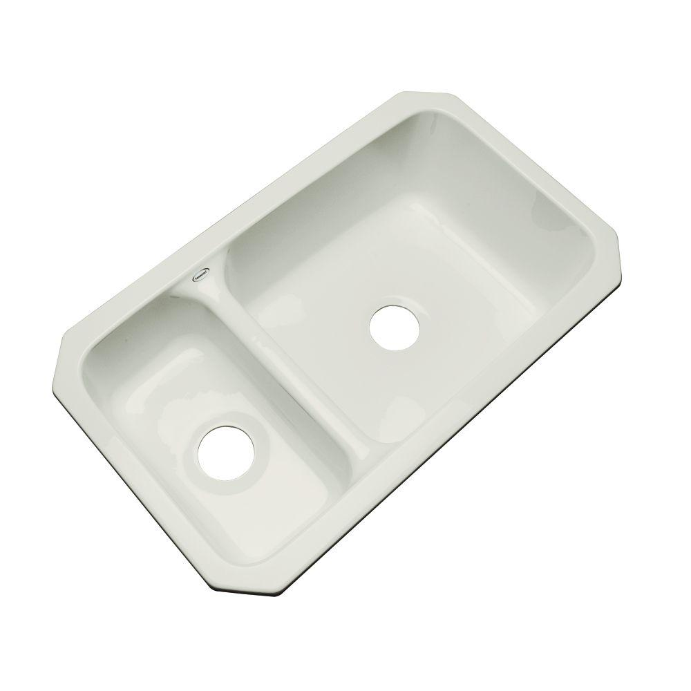 Wyndham Undermount Acrylic 33 in. Double Bowl Kitchen Sink in Tender Grey