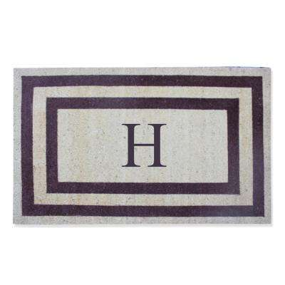A1HC First Impression Engineered Classic Border Terrance Red 30 in. x 48 in. Coir Monogrammed H Door Mat