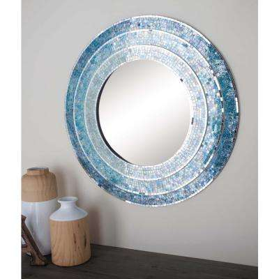 30 in. Modern Wood Blue Mosaic Framed Wall Mirror