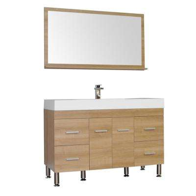 The Modern 47 in. W x 19.5 in. D Bath Vanity in Light Oak with Acrylic Vanity Top in White with White Basin and Mirror