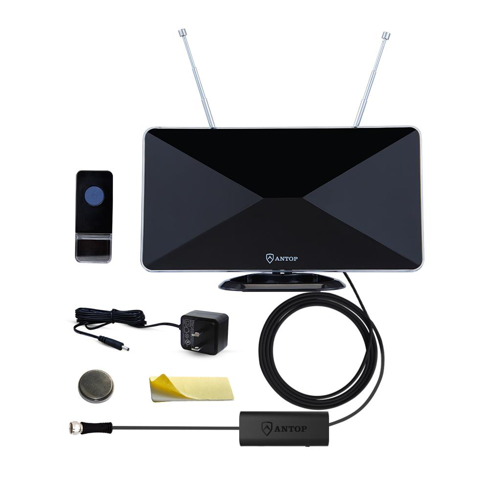 Curved-Panel Indoor HDTV Antenna with Built-In Door Bell