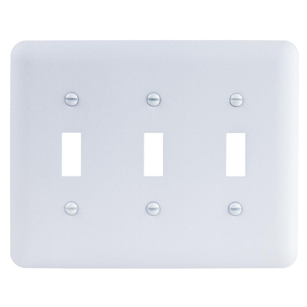 3-Gang Toggle Maxi Metal Wall Plate, White Textured