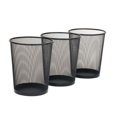 6 Gal. Black Round Mesh Trash Can Recycling Bin (3-Pack)