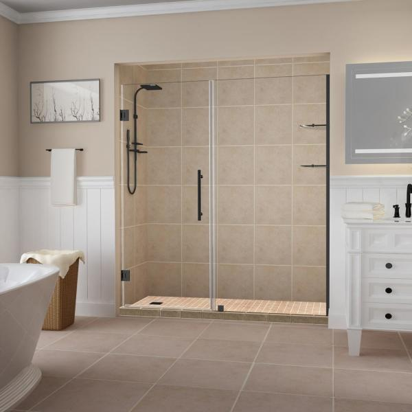 Aston Belmore Gs 68 25 In To 69 25 In X 72 In Frameless Hinged Shower Door With Glass Shelves In Matte Black Sdr960ez Mb 6933 10 The Home Depot