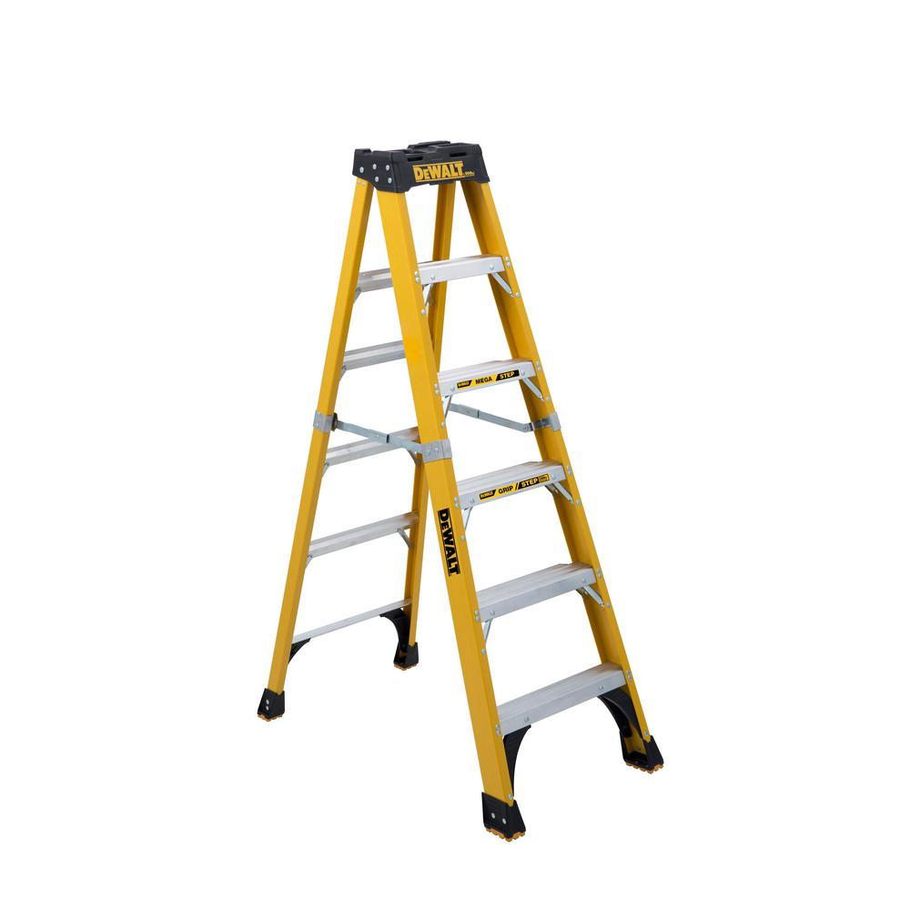 Dewalt 6 Ft Fiberglass Stepladder 10 Ft Reach 500 Lbs Load Capacity Exceeds Type Iaa Standards Dxl3810 06 The Home Depot