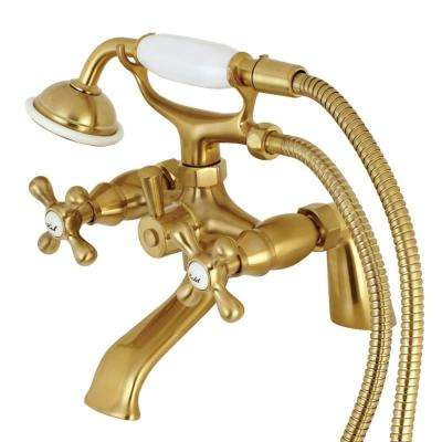Victorian 3-Handle Deck-Mount Claw Foot Tub Faucet with Handshower in Satin Brass