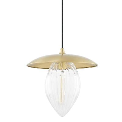 Lana 1-Light Aged Brass Large Pendant with Glass Shade