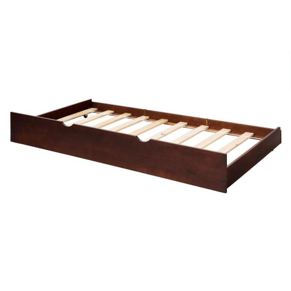 Espresso Solid Wood Trundle Bed