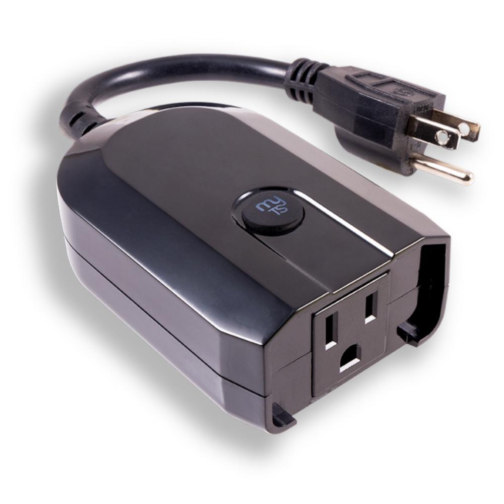 Wi-Fi Plug-In Outdoor Smart Switch, Black