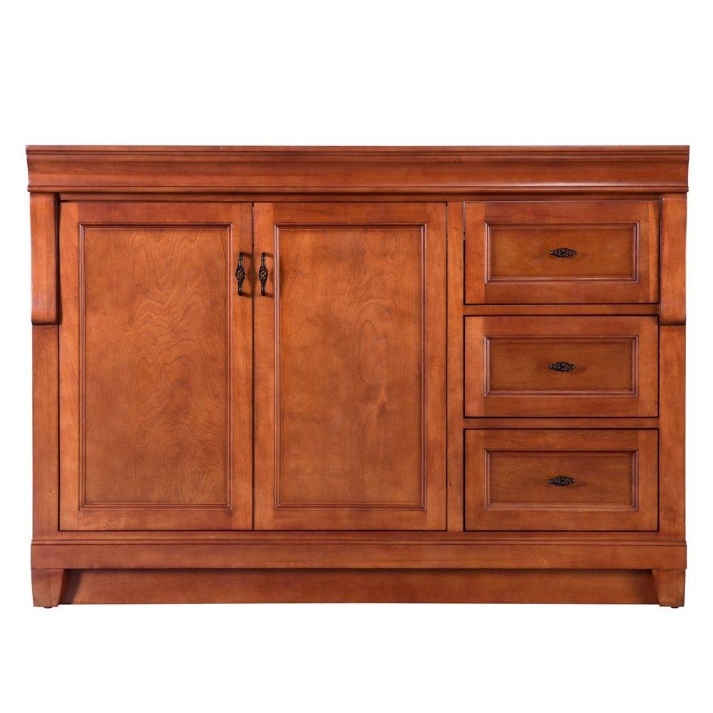 Home Decorators Collection Naples 48 in. W Bath Vanity Cabinet Only in Warm Cinnamon with Right Hand Drawers