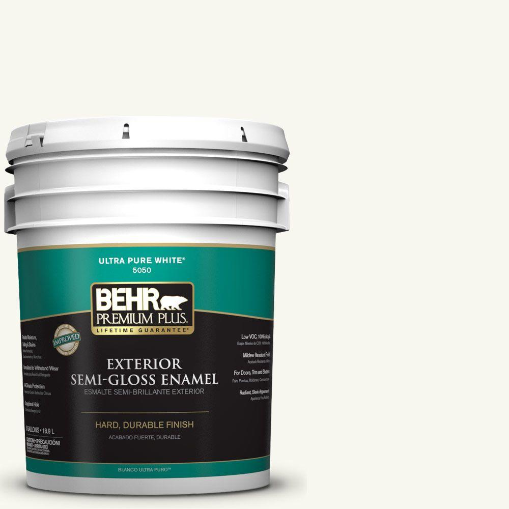 BEHR Premium Plus 5-gal. #YL-W10 Night Blooming Jasmine Semi-Gloss Enamel Exterior Paint