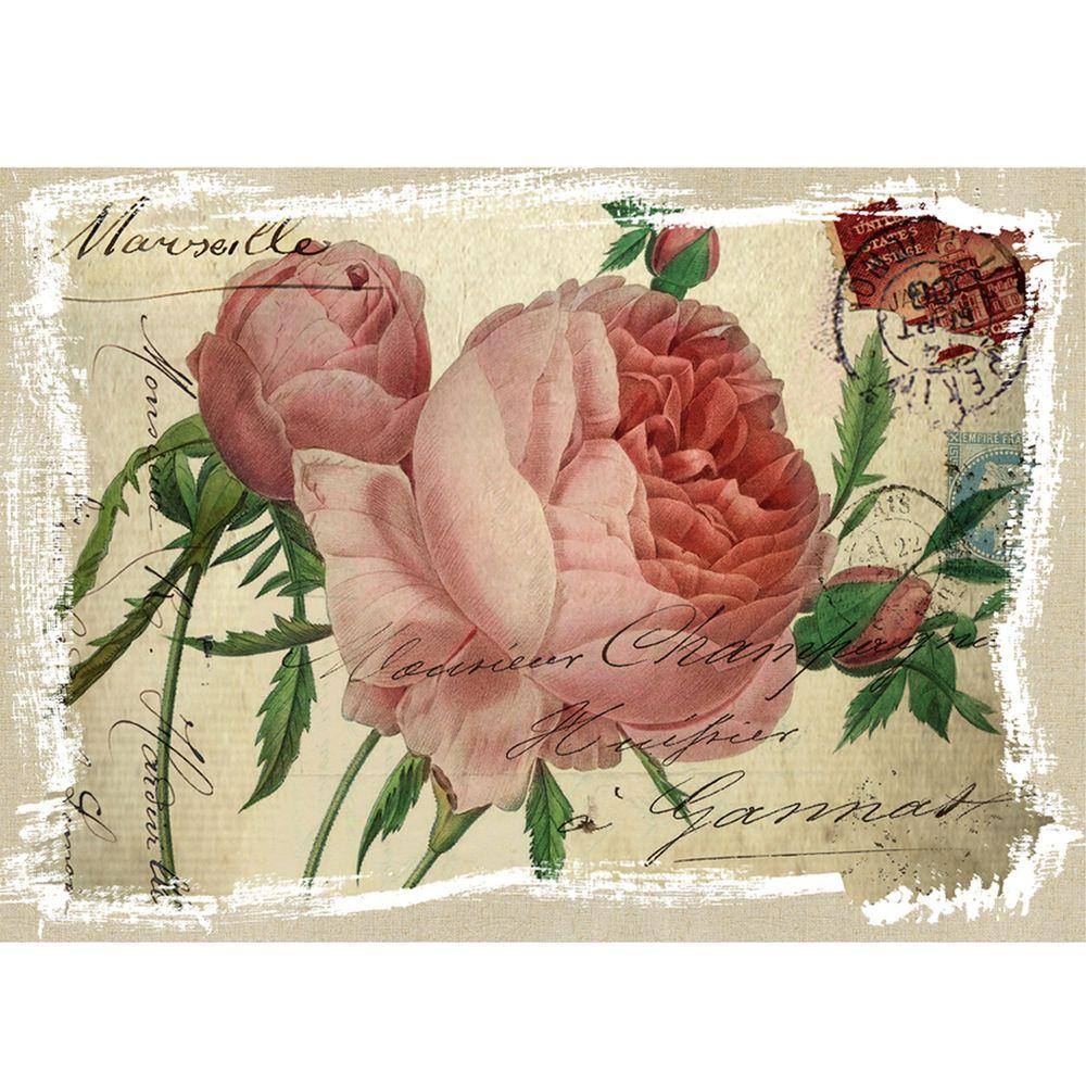 Yosemite Home Decor 28 in. x 20 in. Pink Roses stamp Model Linen Prints Contemporary Artwork-DISCONTINUED