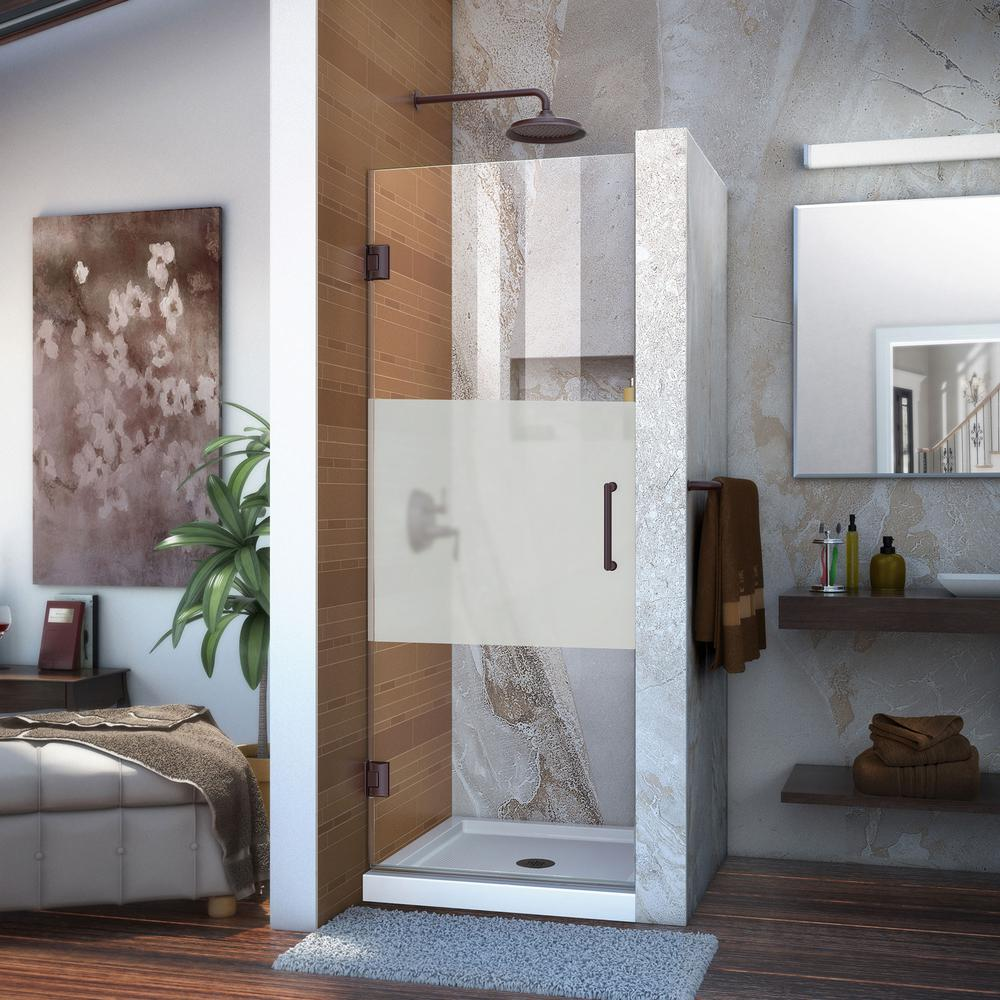 DreamLine Unidoor 26 in. x 72 in. Frameless Hinged Pivot Shower Door in Oil Rubbed Bronze with Handle