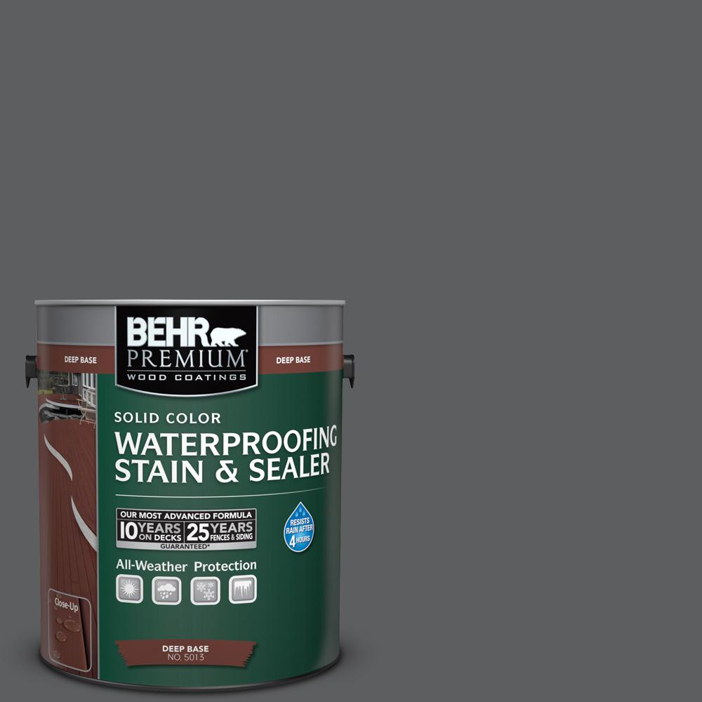 1 gal. #N500-6 Graphic Charcoal Solid Color Waterproofing Exterior Wood Stain
