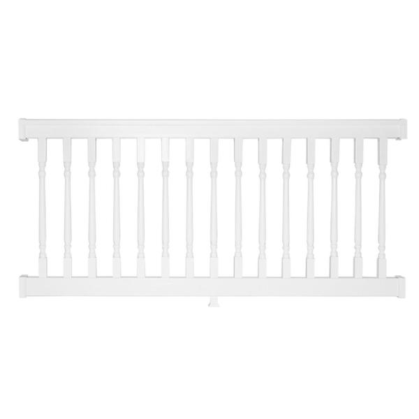 Delray 3 ft. H x  8 ft. W Vinyl White Railing Kit with Colonial Spindles