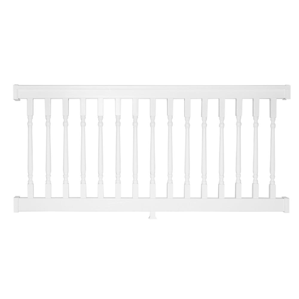 Weatherables Delray 36 in. x 96 in. Vinyl White Colonial Straight Railing Kit