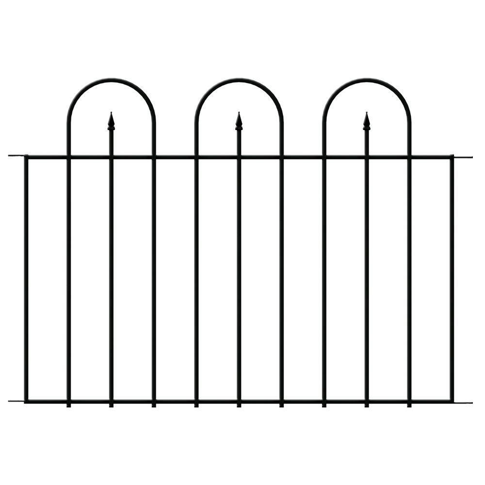Westbrook 36 in. x 48 in. Black Steel Fence Panel