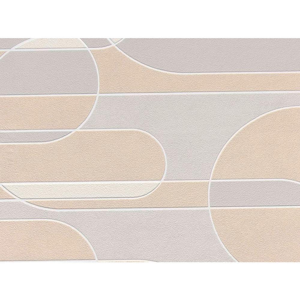 Light Grey & Beige Funky Transparent Oval Wallpaper